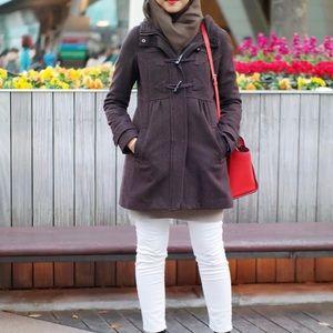 H&M 4 small wool blend duffel coat hooded